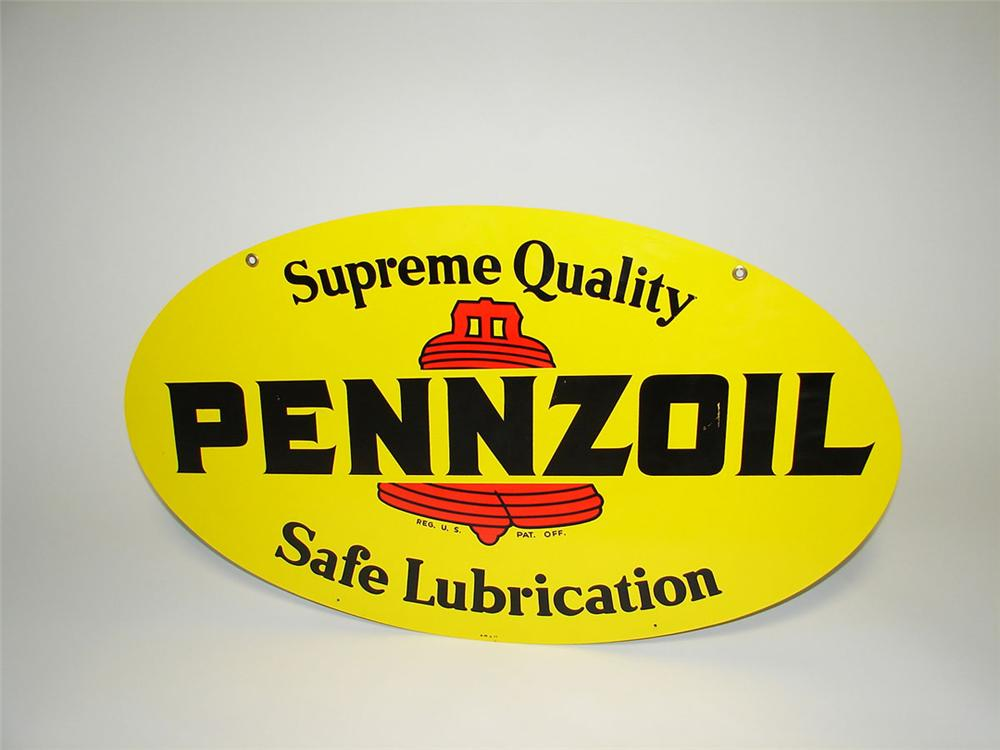 Nice Pennzoil Motor Oil double-sided tin painted garage sign with Bell logo. - Front 3/4 - 108328