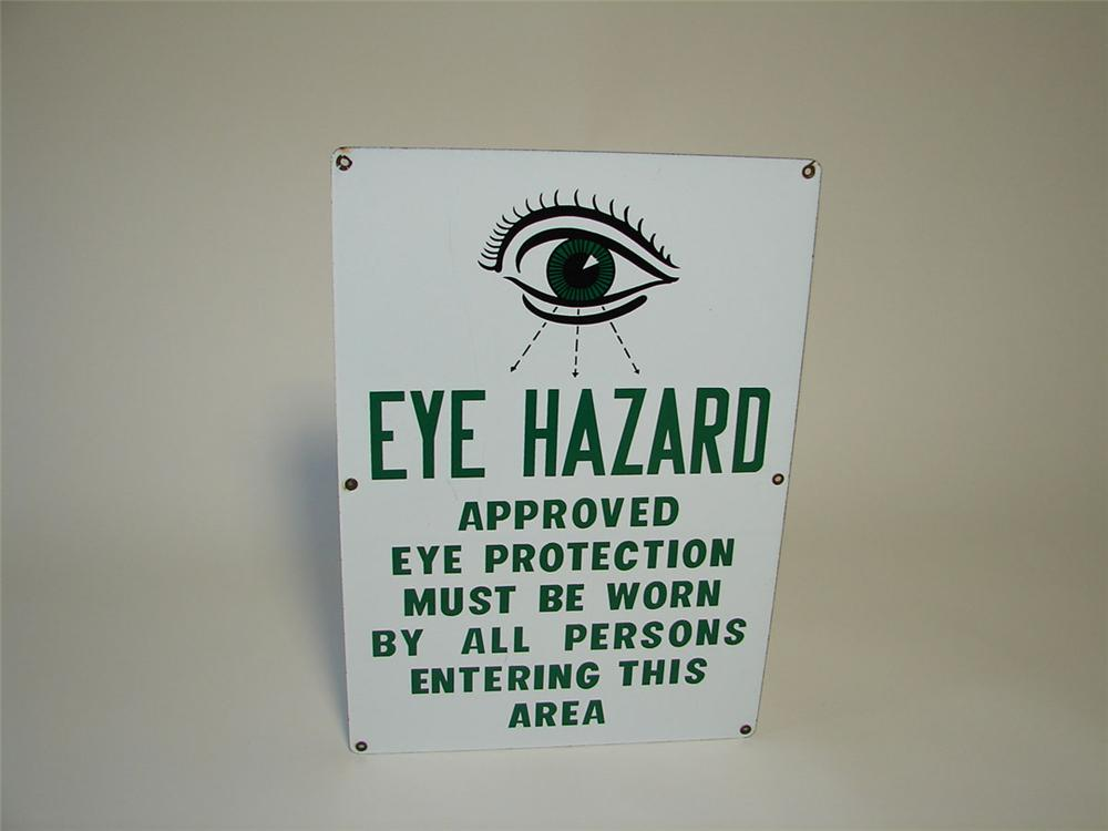 1940s-50s Eye Hazard single-sided porcelain industrial plant sign with eye graphic. - Front 3/4 - 108331