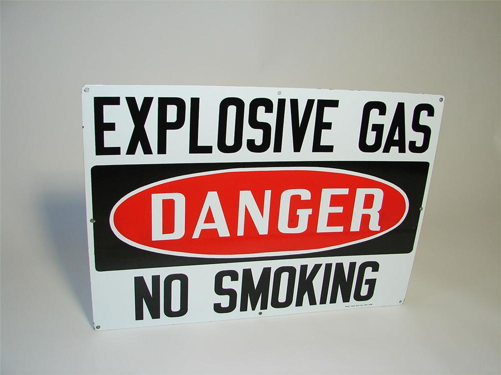 "1950s Danger ""Explosive Gas"" bulk oil plant double-sided porcelain sign. - Front 3/4 - 108332"