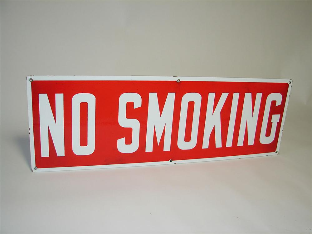 "Sharp 1950s service station ""No Smoking"" double-sided porcelain fuel island sign. - Front 3/4 - 108333"