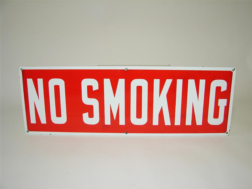 "Sharp 1950s service station ""No Smoking"" double-sided porcelain fuel island sign. - Front 3/4 - 108334"