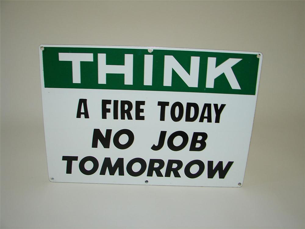 "1950s ""Think"" fire prevention single-sided porcelain bulk oil plant sign. - Front 3/4 - 108335"