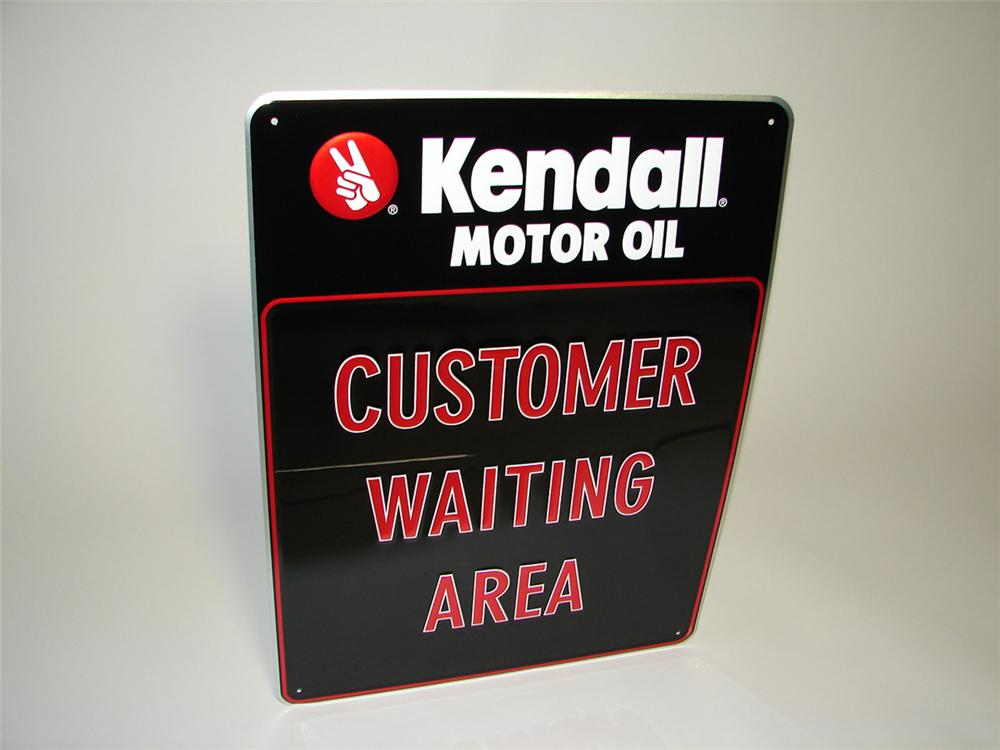 "N.O.S. Kendall Motor Oil ""Customer Waiting Area"" single-sided embossed tin garage sign. - Front 3/4 - 108339"