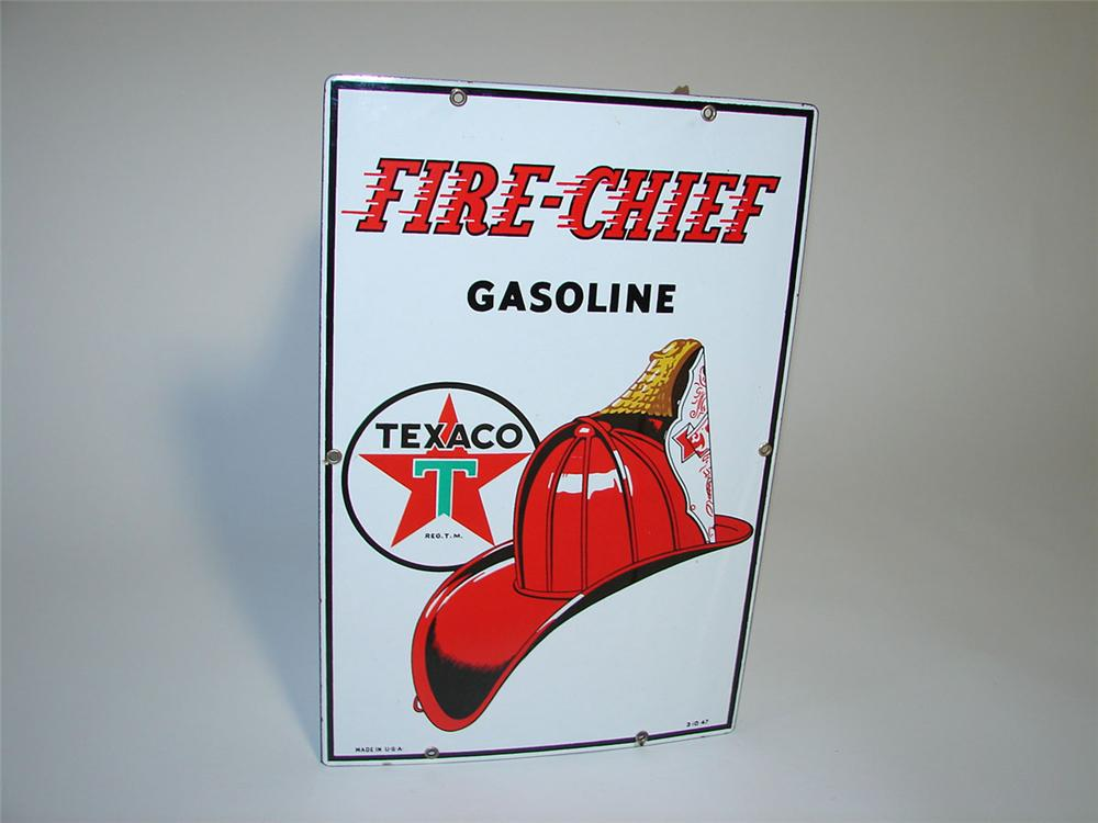 Immensely clean 1947 Texaco Fire Chief Gasoline single-sided porcelain pump plate sign. - Front 3/4 - 108343