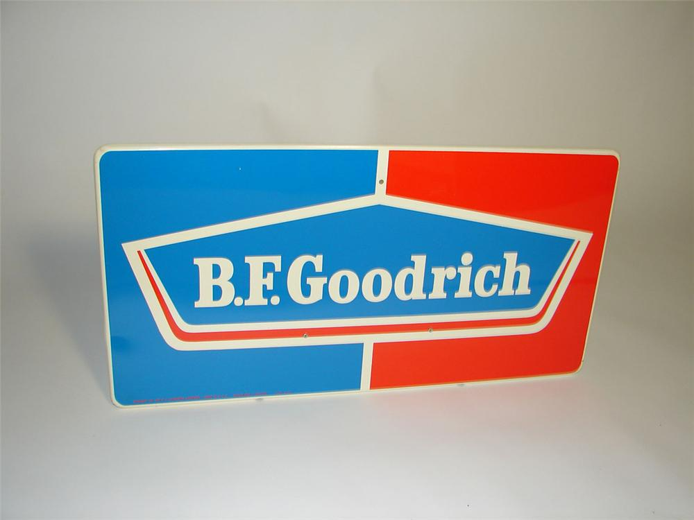 N.O.S. BF Goodrich single-sided embossed tin garage sign. - Front 3/4 - 108348