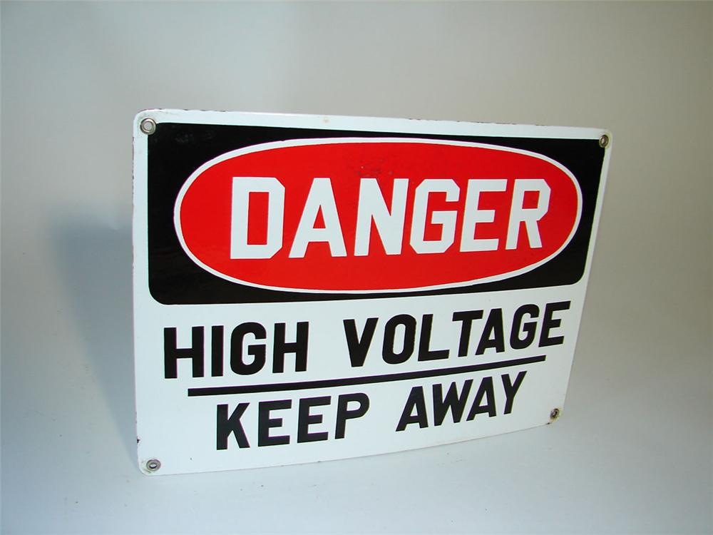 1950s Danger High Voltage single sided porcelain sign. - Front 3/4 - 108351