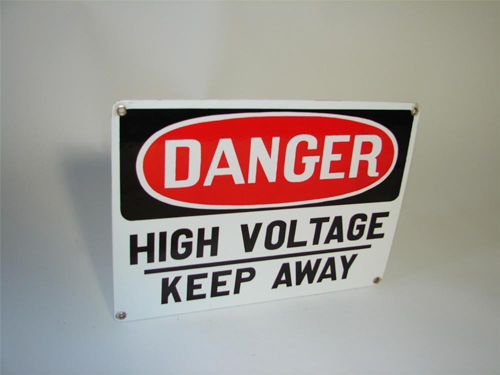 1950s Danger High Voltage single sided porcelain sign. - Front 3/4 - 108352