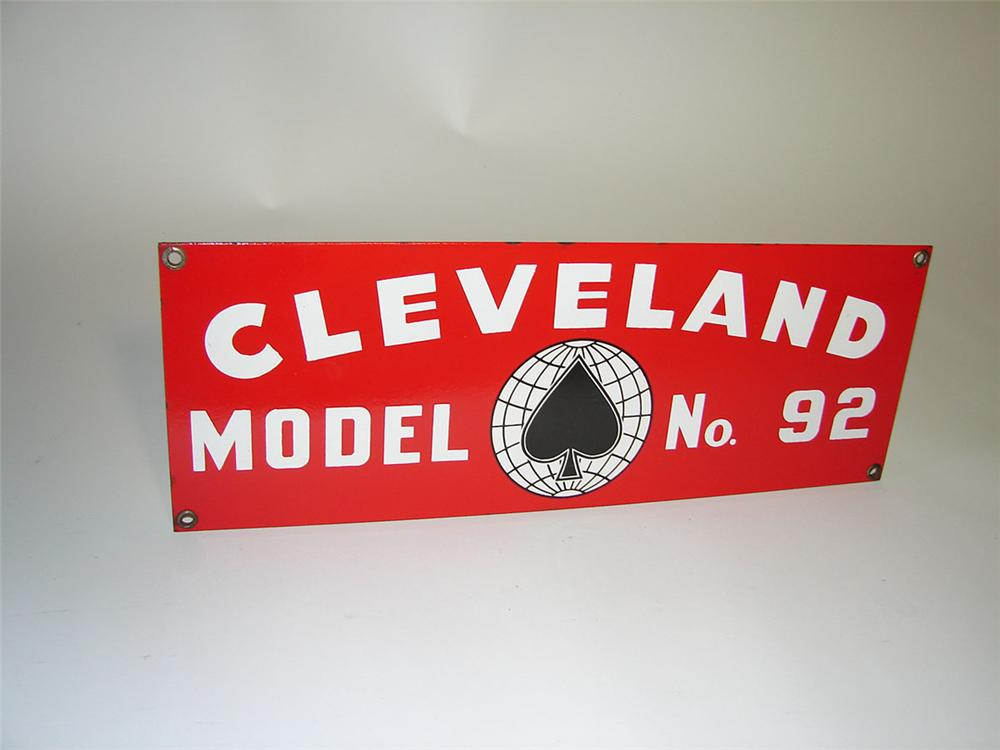 1940s Cleveland Model #92 Heavy Equipment single-sided porcelain sign. - Front 3/4 - 108353