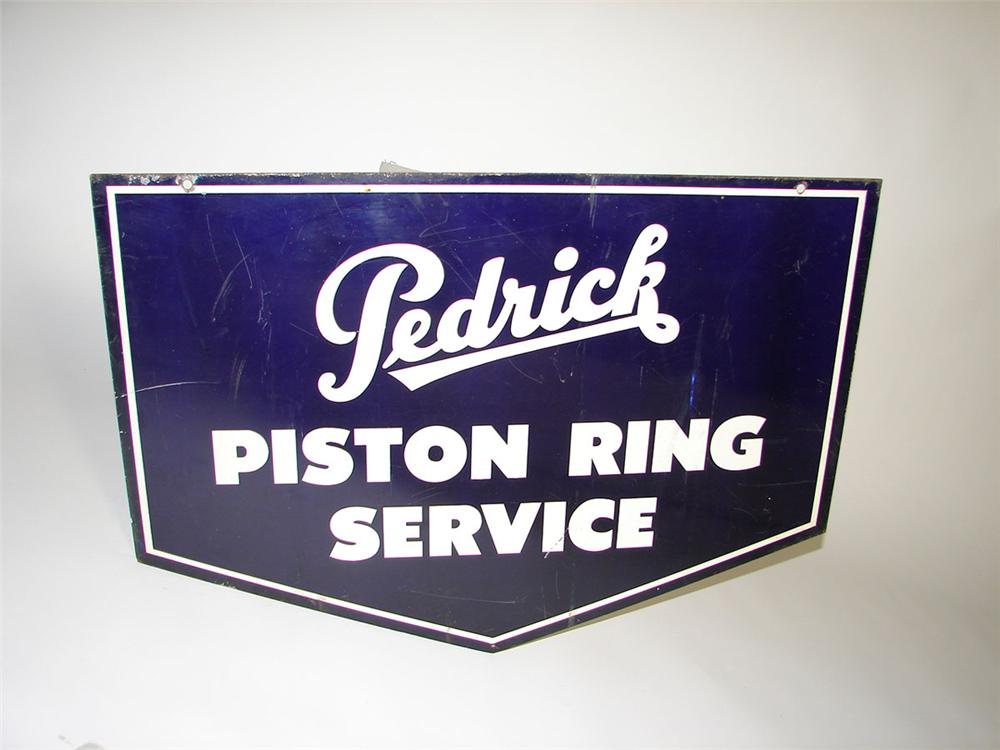 Sharp 1940s Pedrick Piston Ring Service double-sided tin painted garage sign. - Front 3/4 - 108354