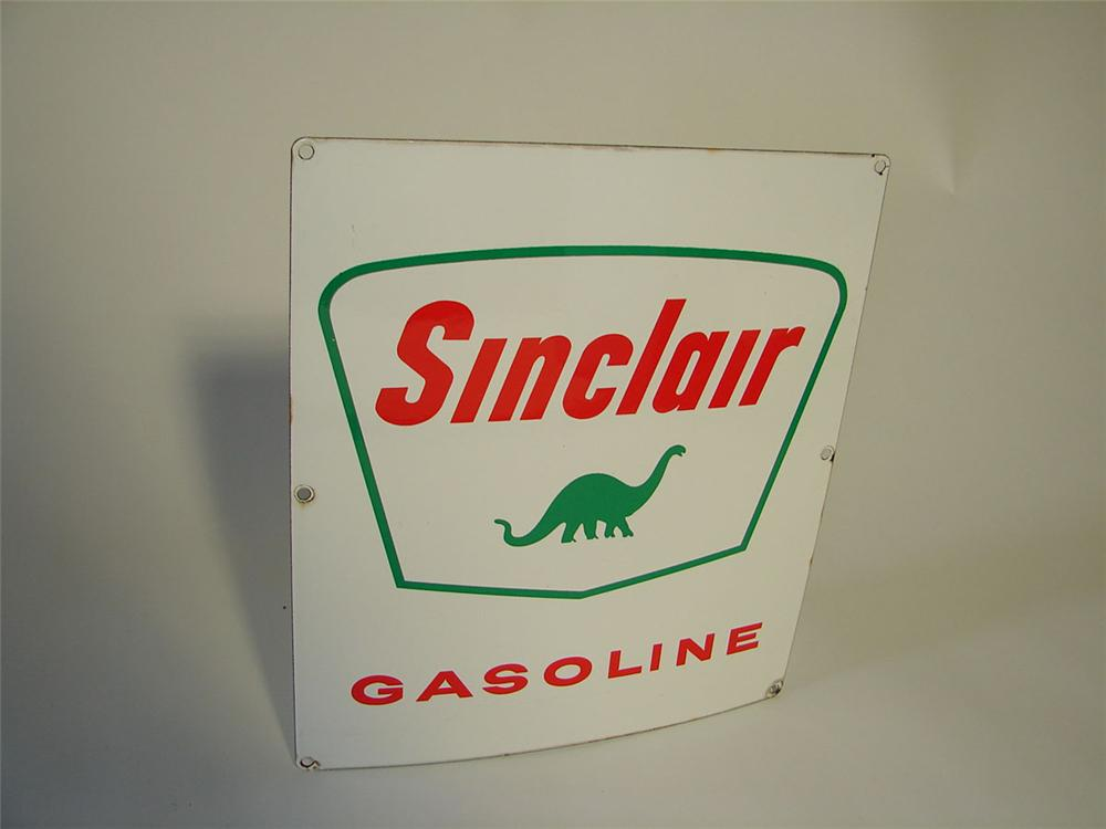 Desirable 1950s-60s Sinclair Gasoline porcelain pump plate sign with Dino logo. - Front 3/4 - 108357