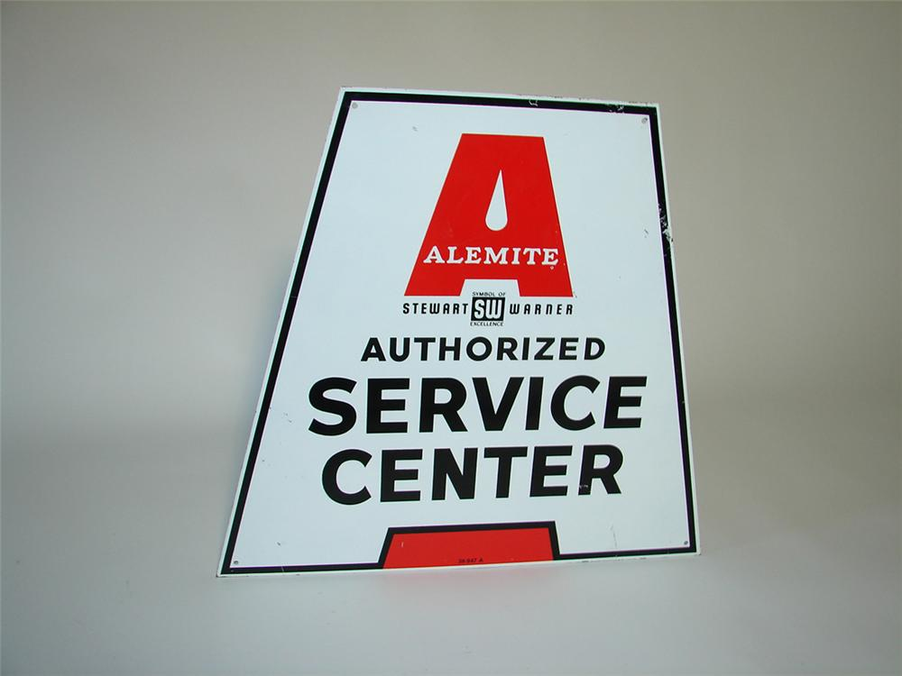 Unusual 1950s-60s Alemite Service Center double-sided tin garage sign. - Front 3/4 - 108358