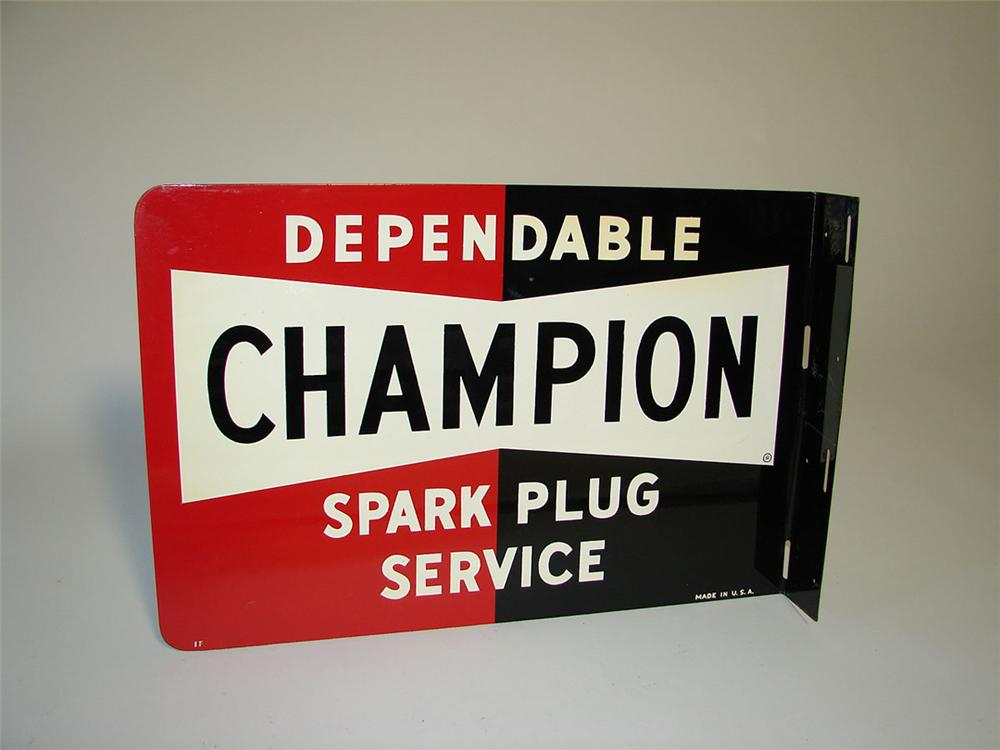 N.O.S. 1950s Champion Spark Plugs tin painted garage flange sign. - Front 3/4 - 108361