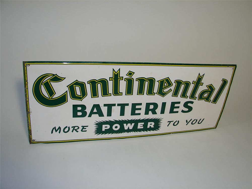 Very unusual 1950s Continental Batteries horizontal tin painted garage sign. - Front 3/4 - 108365