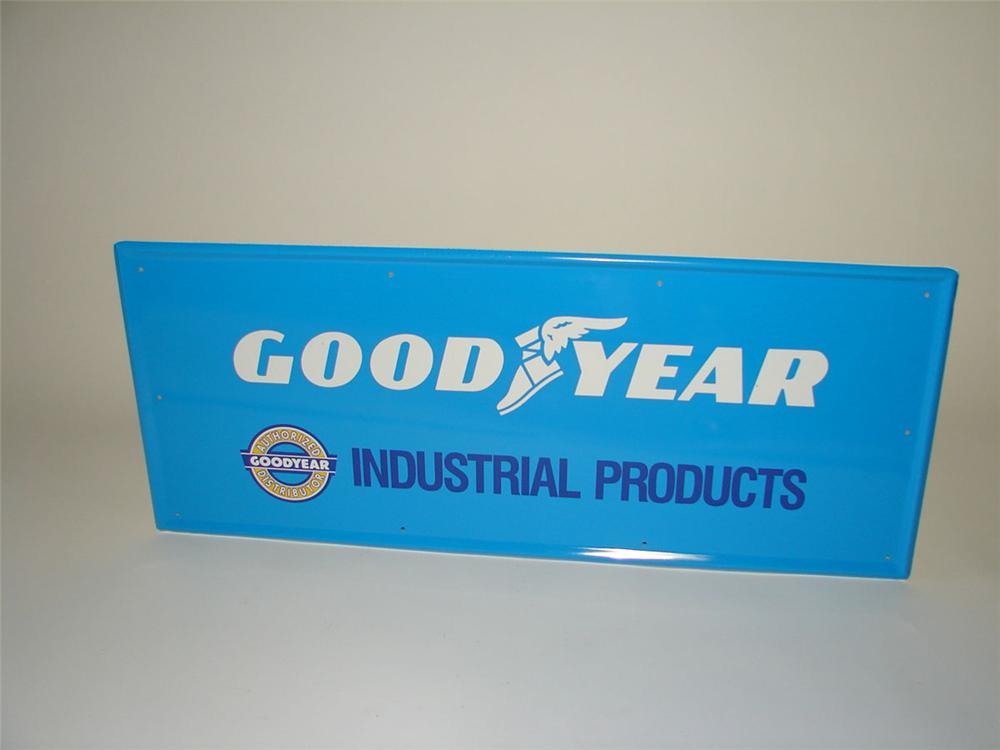 N.O.S. 1960s Goodyear Industrial Products horizontal tin garage sign. - Front 3/4 - 108368