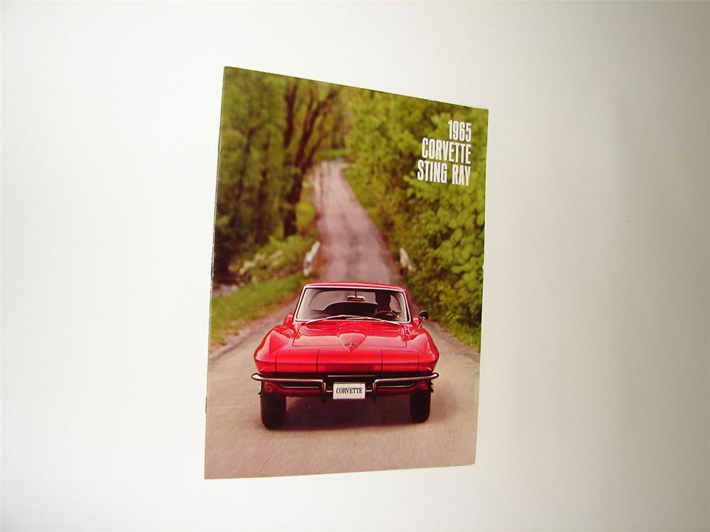 Museum quality N.O.S. 1965 Corvette Sting Ray sixteen page color sales brochure. - Front 3/4 - 108373