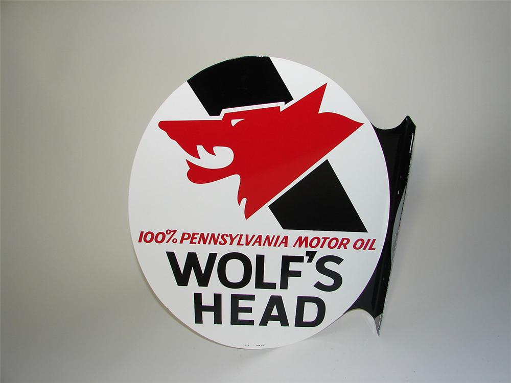 Striking Wolfs Head Motor Oil double-sided tin painted garage flange sign with Wolfs head logo. - Front 3/4 - 108375