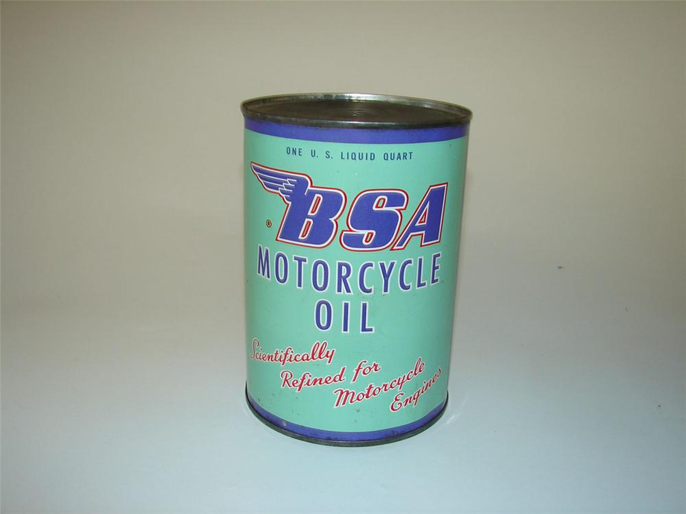 N.O.S. 1950s BSA Motor Cycle Oil metal quart can still full and used. - Front 3/4 - 108378