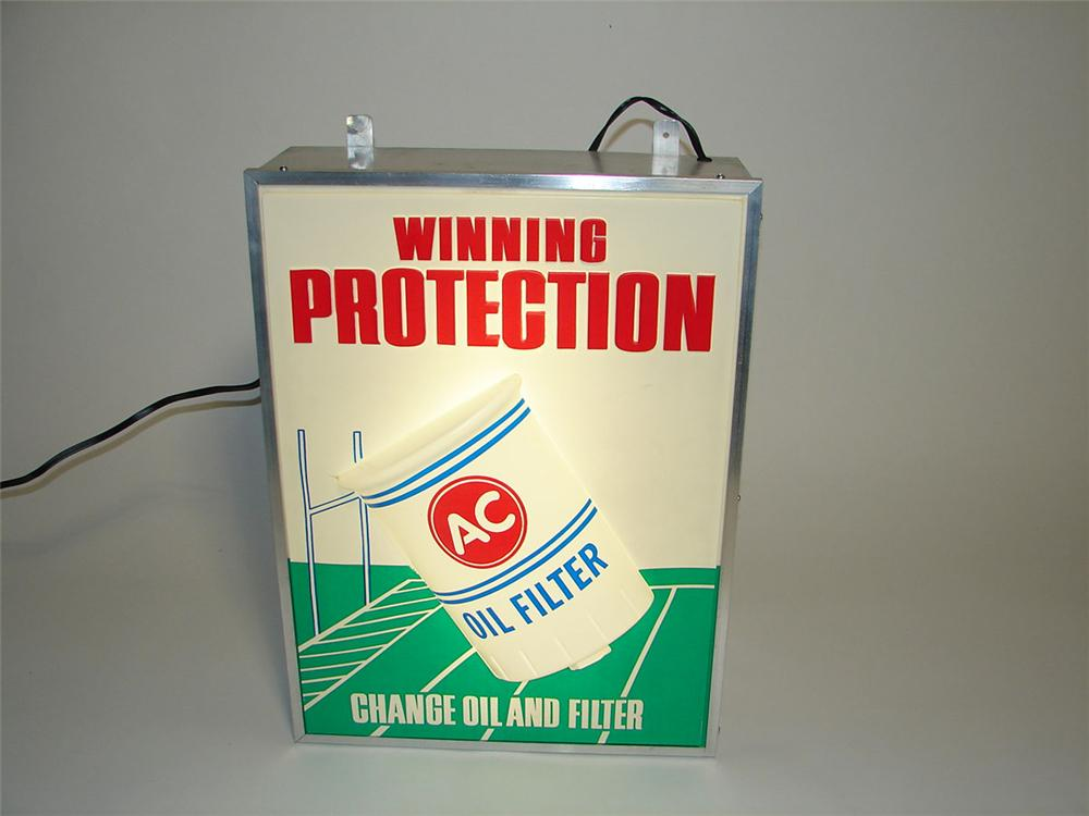 "Very unusual 1960s AC Oil Filters ""Winning Protection"" light-up service garage sign. - Front 3/4 - 108380"