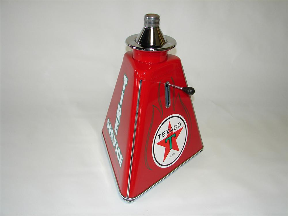 Stunning 1940s-50s Texaco Oil service department restored tire/wheel balancer. - Front 3/4 - 108397