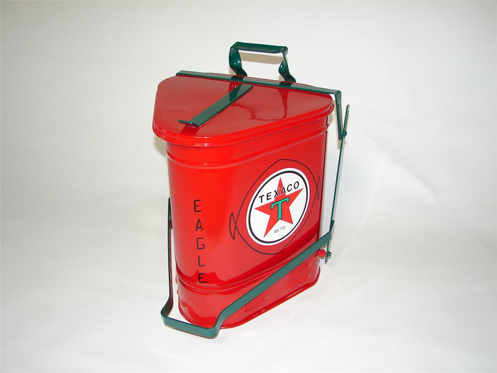 Immaculate 1930s Texaco Oil service department oil/gas rag can with foot lever. - Front 3/4 - 108400