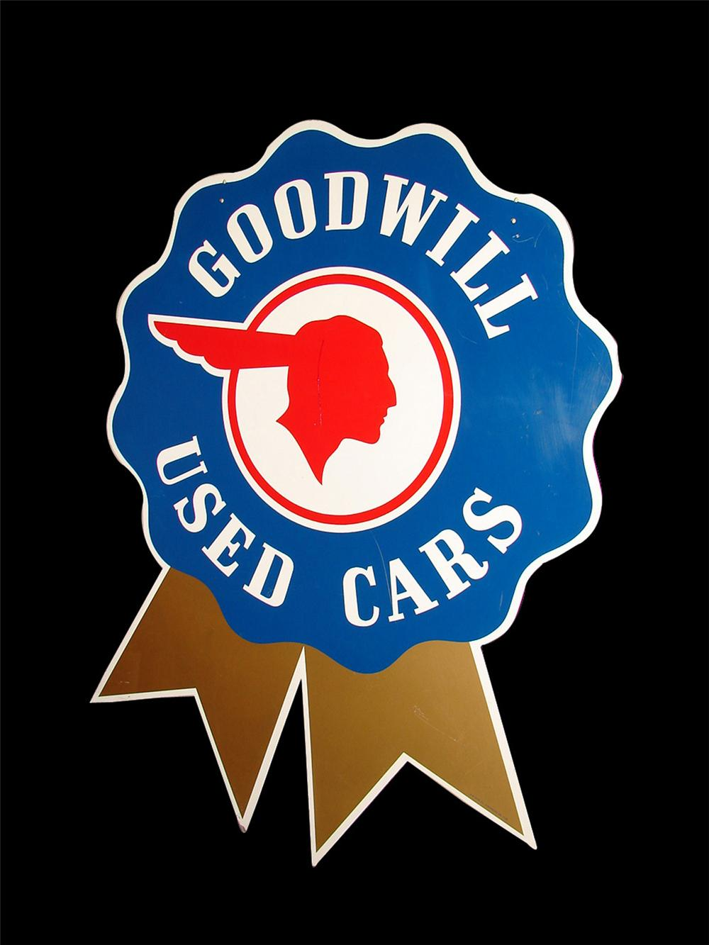 Hard to find 1954 Pontiac Goodwill Used Cars double-sided tin painted bow-tie sign. - Front 3/4 - 108406