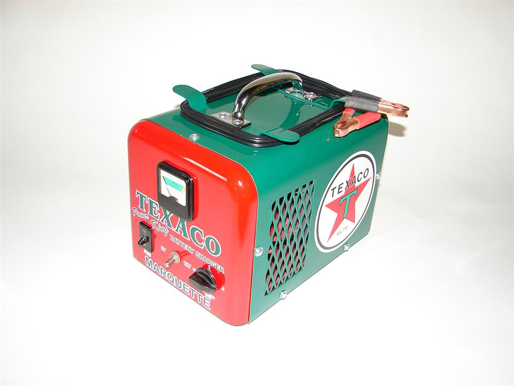 Nicely restored 1950s Texaco Oil service department battery charger by Marquette. - Front 3/4 - 108407