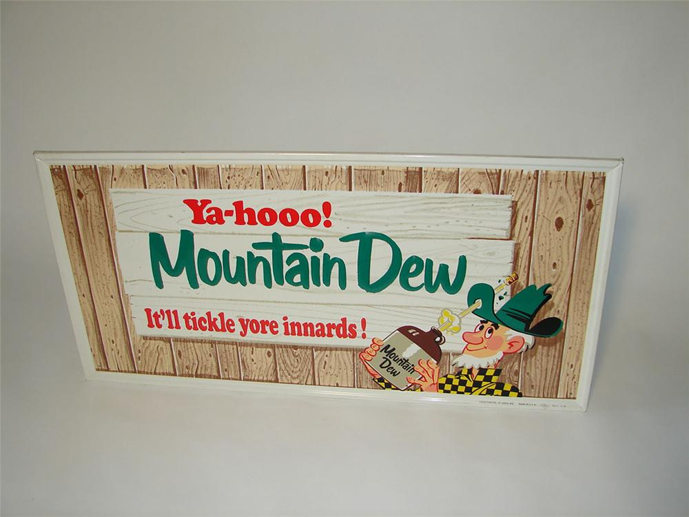 Killer N.O.S. 1960s Mountain Dew Soda horizontal tin painted sign with adorable hill billy graphic. - Front 3/4 - 108412