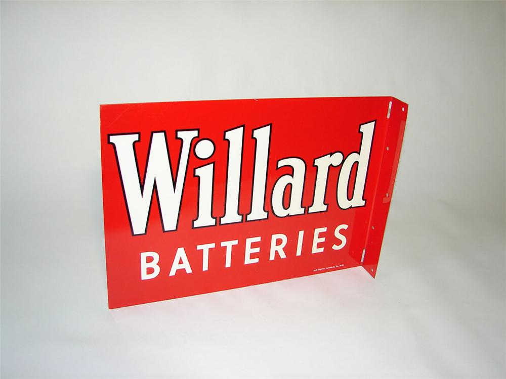 Stellar N.O.S. 1955 Willard Batteries double-sided tin painted automotive garage flange - Front 3/4 - 108413