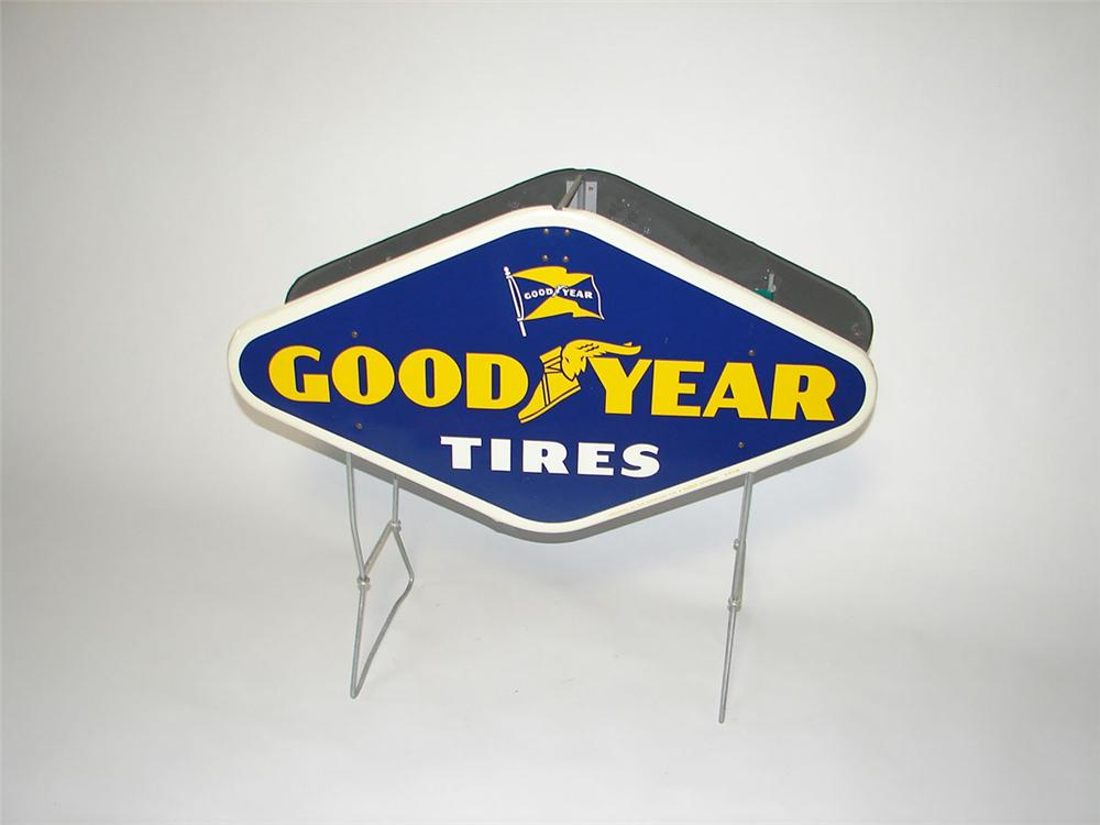 Exceptional N.O.S. 1950s-early 60s Goodyear Tires automotive garage double-sided metal tire display holder. - Front 3/4 - 108415
