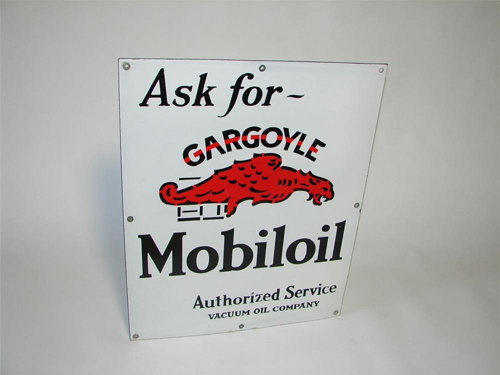 Very clean 1930s Mobil Gargoyle Oil single-sided porcelain service station sign. - Front 3/4 - 108416