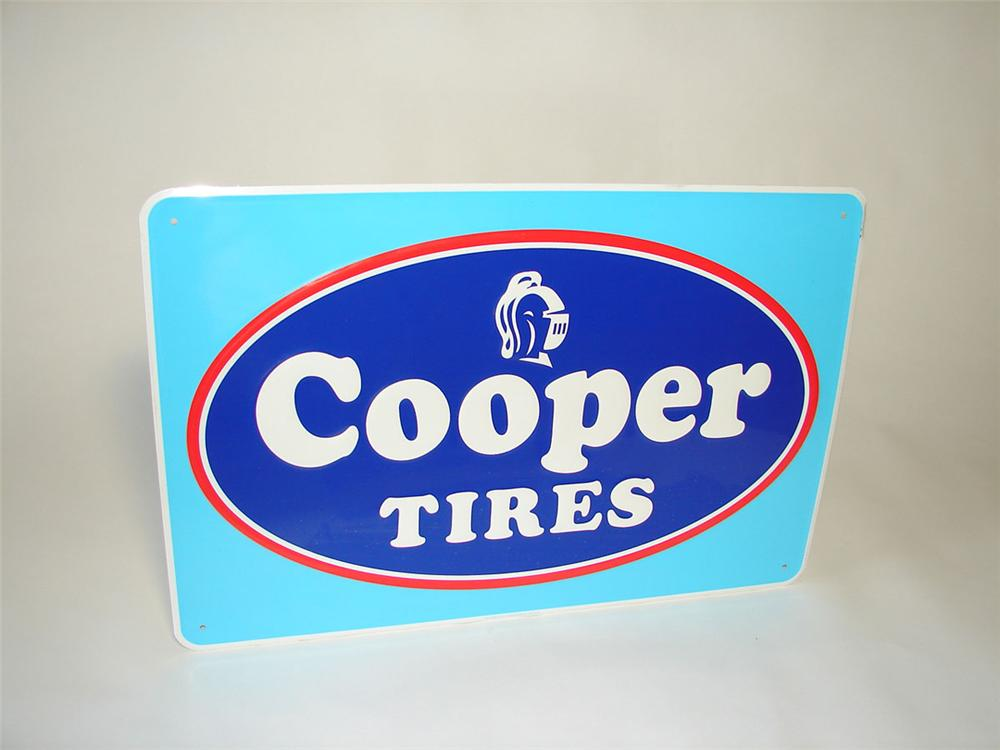 N.O.S. 1960s Cooper Tires single-sided embossed tin garage sign. - Front 3/4 - 108417