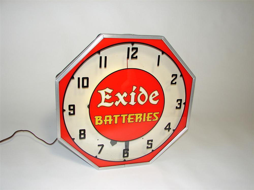 Exceptional 1930s Exide Batteries glass faced light-up automotive garage clock. - Front 3/4 - 108419