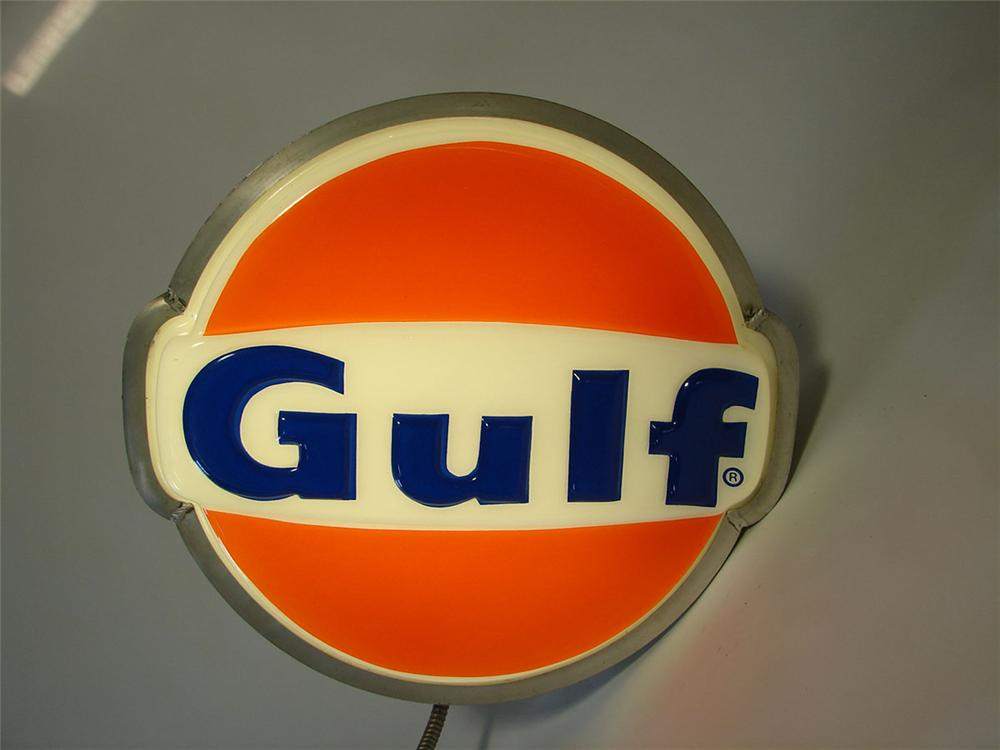 Neat 1960s Gulf Oil single-sided three-dimensional light-up service station sign. - Front 3/4 - 108420