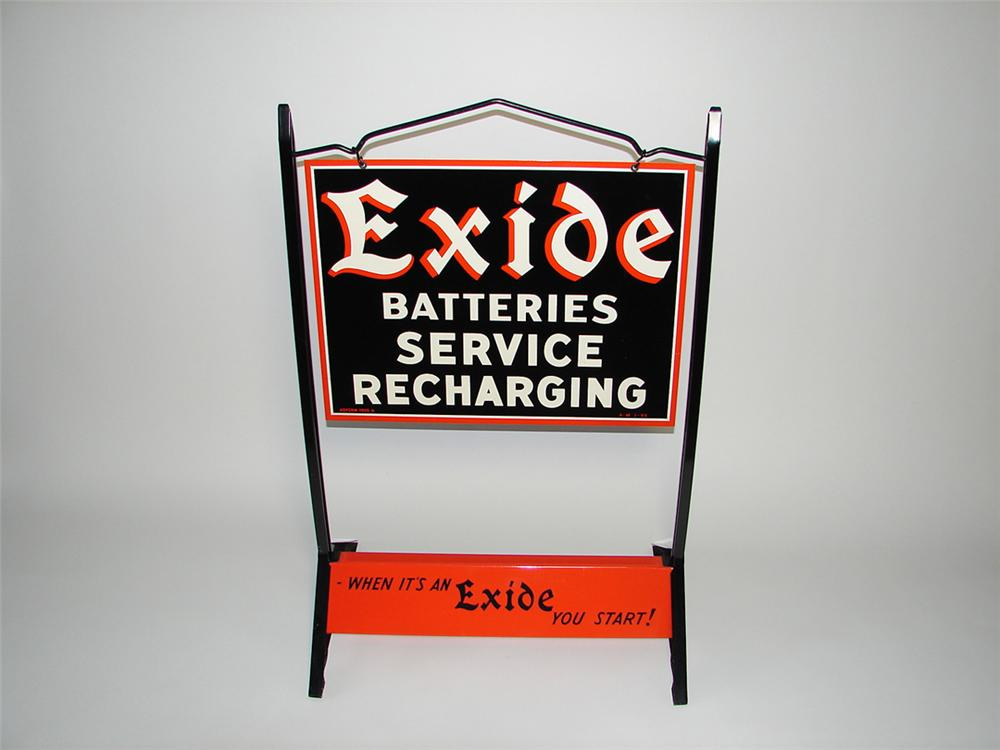"Stunning 1955 Exide Batteries ""Service-Recharging"" double-sided tin painted garage curb sign. - Front 3/4 - 108422"