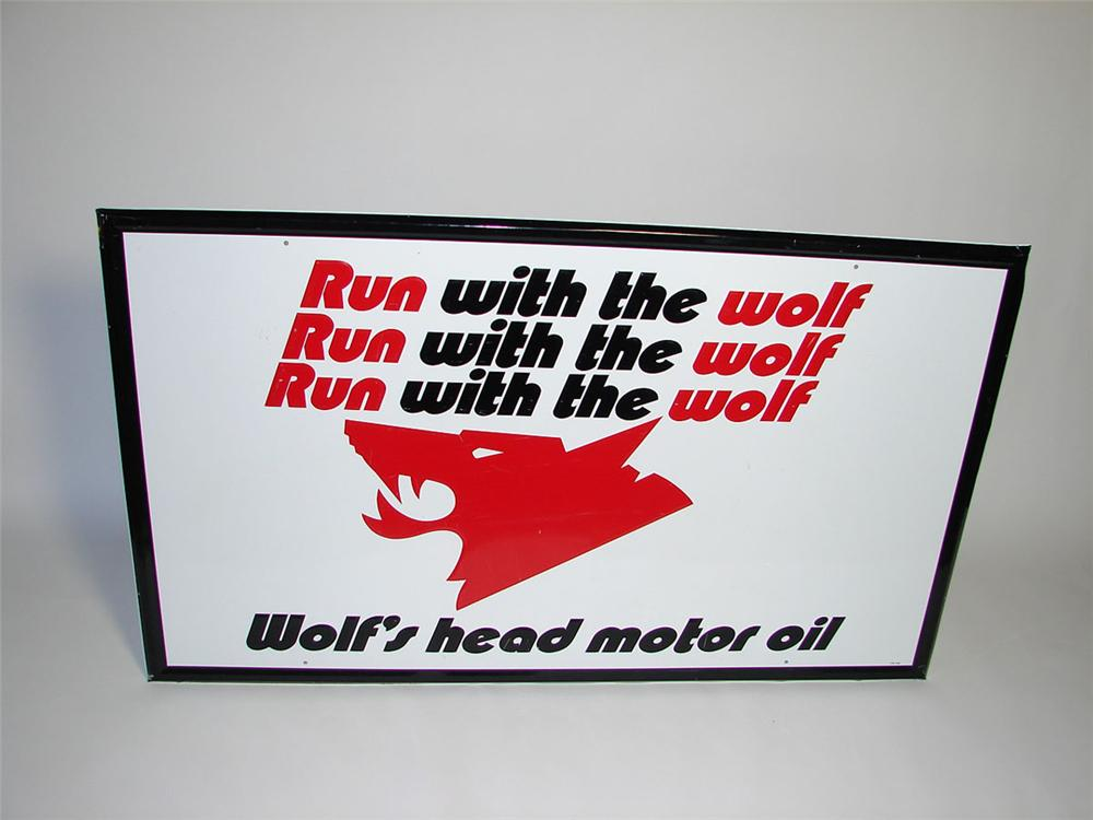 Phenomenal large Wolfs Head Motor Oil self-framed tin garage sign with fantastic Wolfs Head Logo. - Front 3/4 - 108424