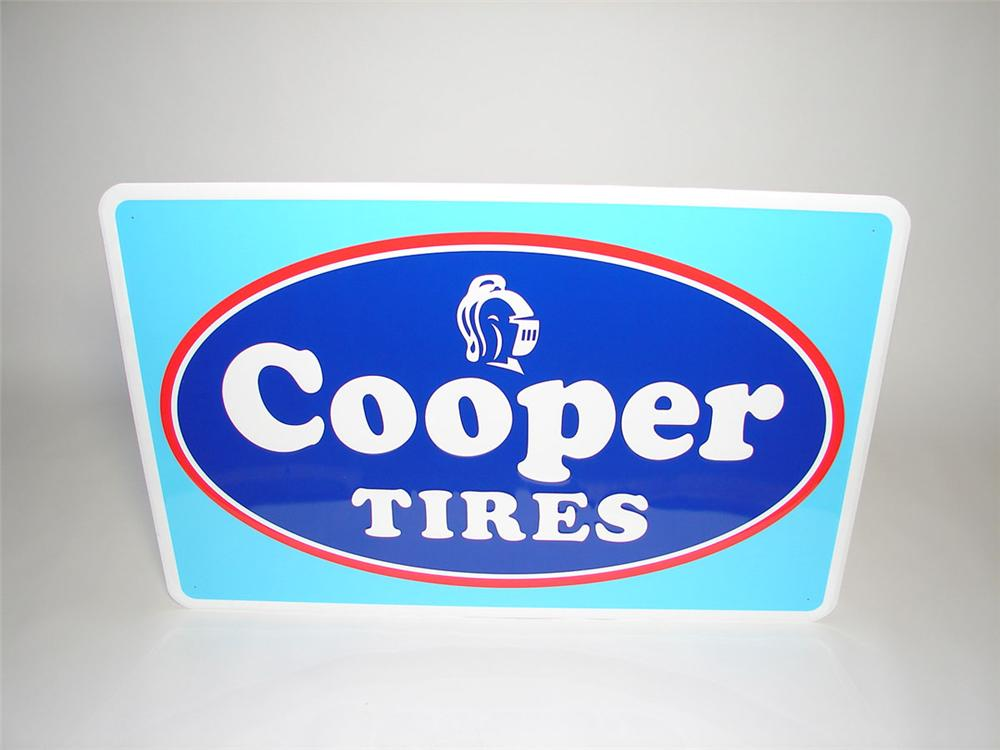 Large N.O.S. Cooper Tires single-sided embossed tin garage sign with logo. - Front 3/4 - 108425