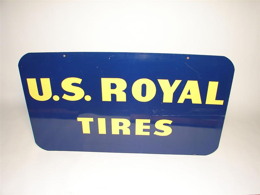 1963 U.S. Royal Tires double-sided tin painted garage sign. Possibly never used. - Front 3/4 - 108426