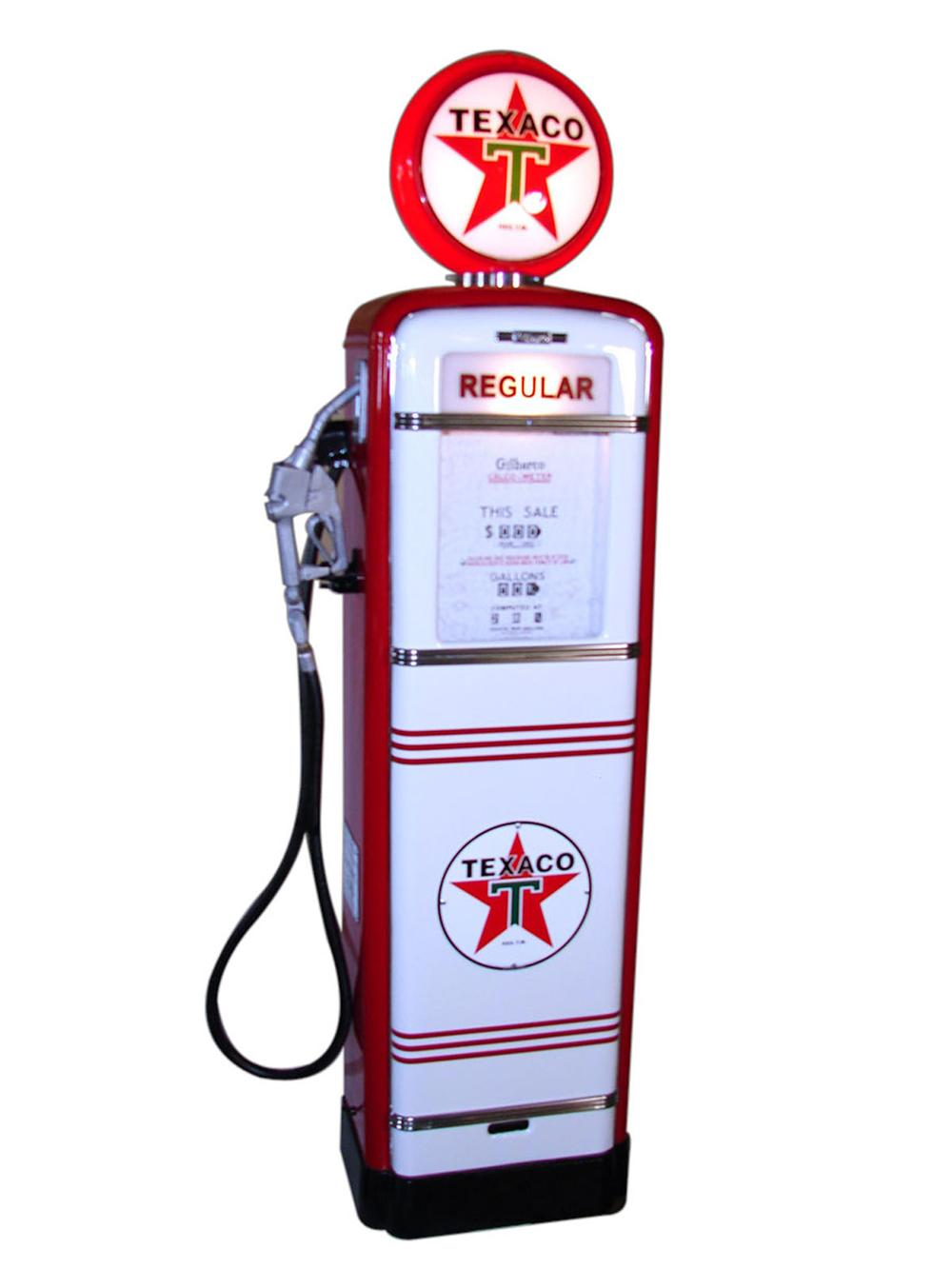 Outstanding late 1940s-50s restored Texaco Oil Gilbarco service station gas  pump. - Front