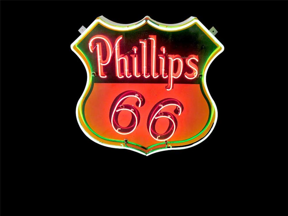 Stellar 1940s-50s Phillips 66 single-sided neon porcelain service station sign. - Front 3/4 - 108497