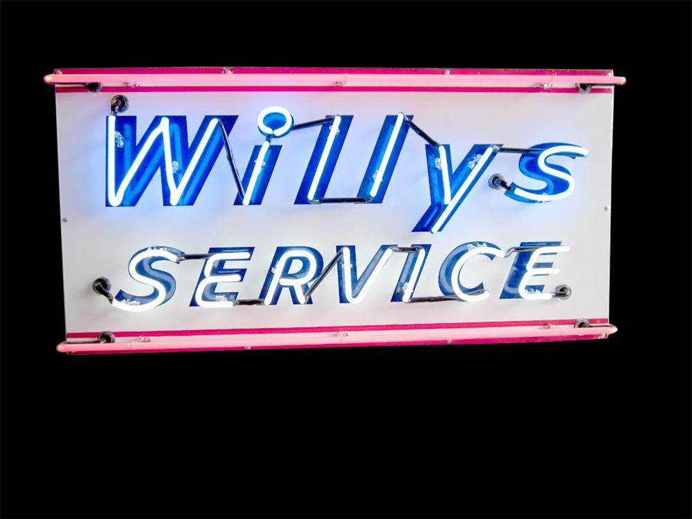 Hard to find 1940s-50s Willys Service single-sided porcelain neon dealership sign. - Front 3/4 - 108498
