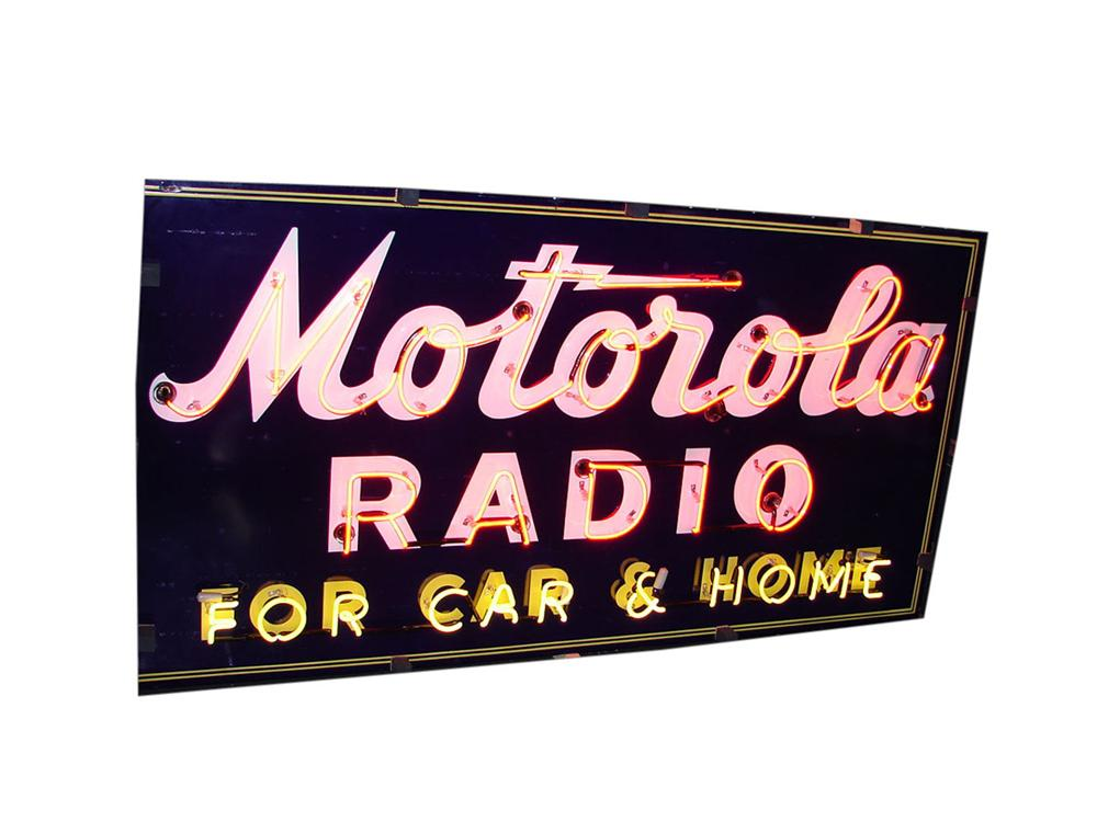 Fantastic 1930s-40s Motorola Radio for Autos single-sided neon porcelain dealership sign. - Front 3/4 - 108500