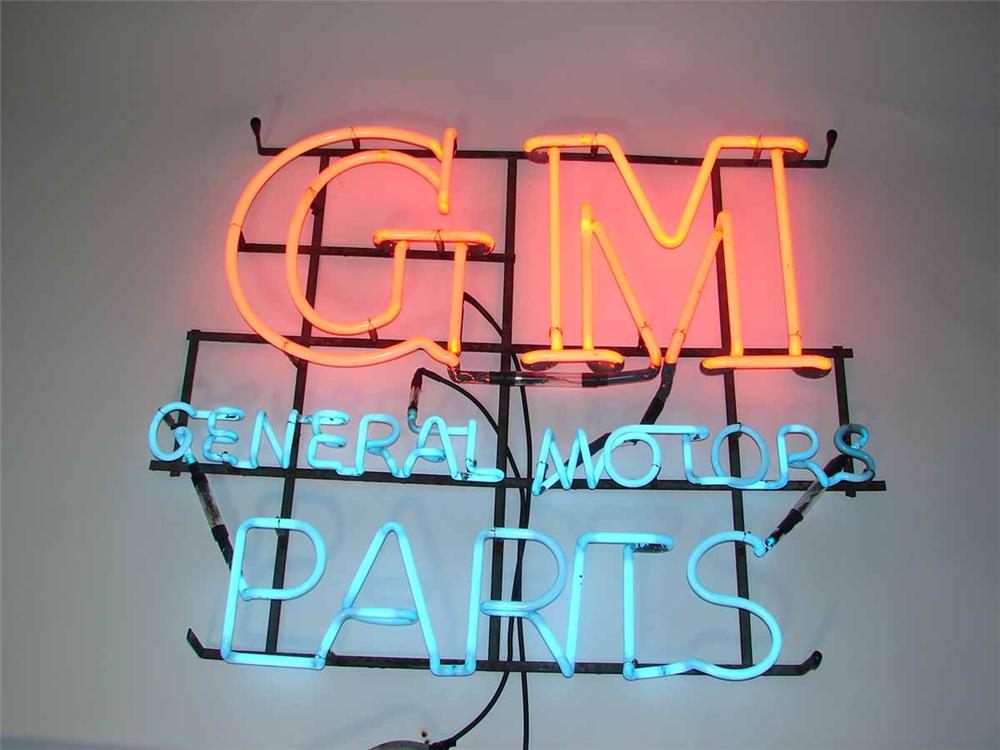 1940s GM General Motors Parts single-sided dealership showroom neon sign. - Front 3/4 - 108502