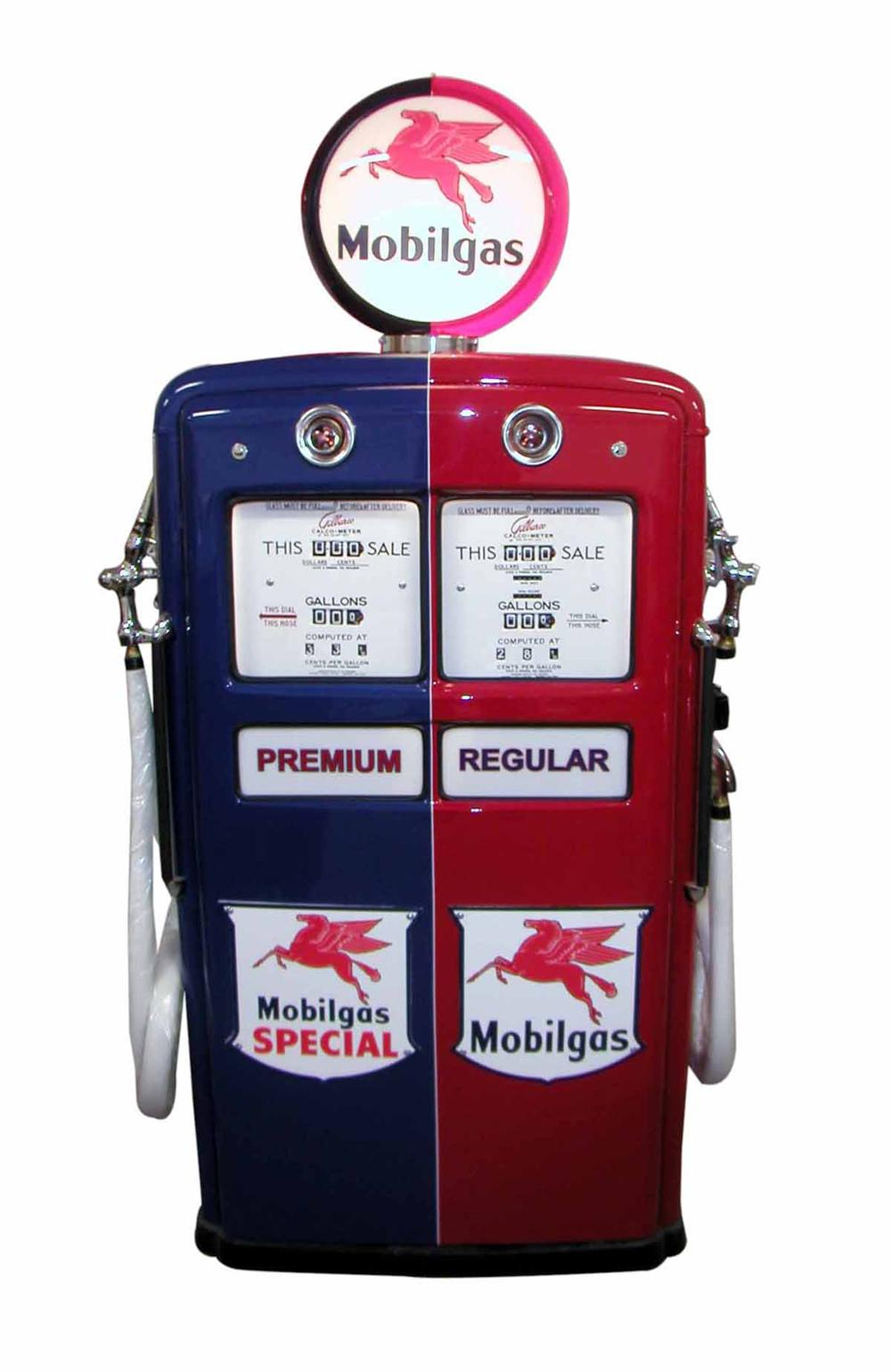 Killer 1950s Mobil Oil Gilbarco dual-blend dispensing service station gas pump. - Front 3/4 - 108509