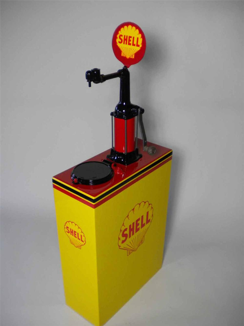 Marvelous 1930s Shell Oil 30 gallon restored service station hand crank oil lubester with marquee sign. - Front 3/4 - 108512