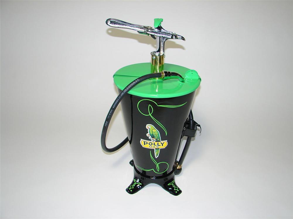 "Sharp 1930s Polly Gasoline five gallon hand pump greaser. Beautifully restored with lots of style. Size 12""x25""x12"" - Front 3/4 - 108523"
