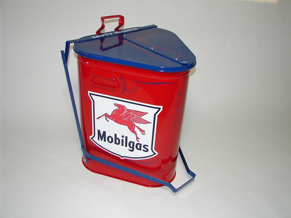 Fantastic 1940s Mobilgas Eagle service department oil rag storage can with foot lever. - Front 3/4 - 108527