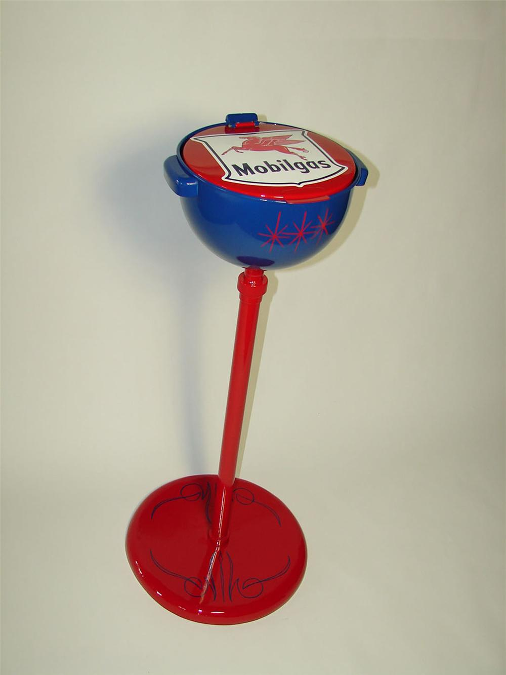 Tremendous 1950s Mobilgas service department floor model oil collector on stand. - Front 3/4 - 108528