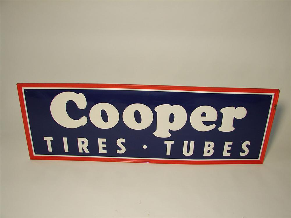 N.O.S. 1940s-50s Cooper Tires and Tubes single-sided self-framed embossed tin garage sign. - Front 3/4 - 108534