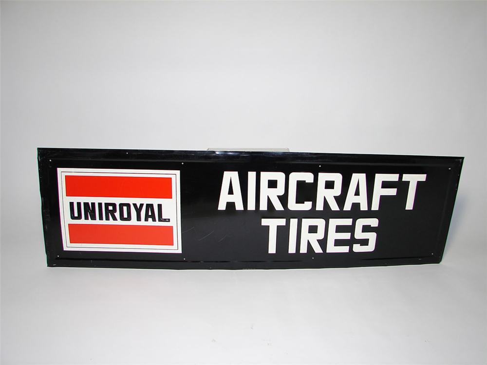 Hard to find 1960s Uniroyal Aircraft Tires single-sided tin painted airport sign. - Front 3/4 - 108535