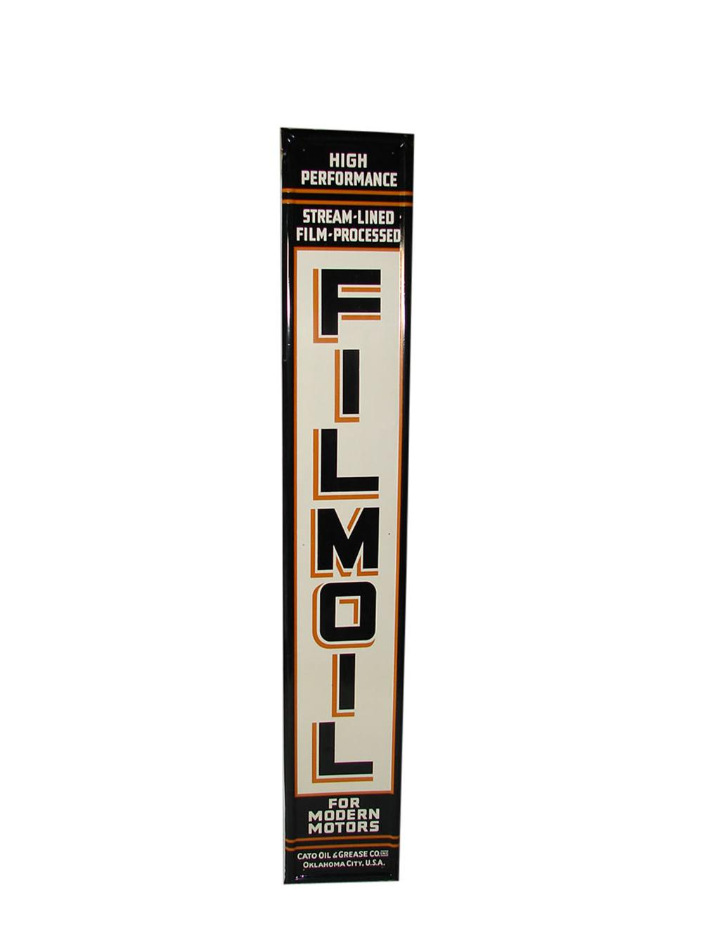 N.O.S. 1940s Film Oil for Modern Motors tin self-framed vertical garage sign. - Front 3/4 - 108537